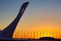 Olympische Flamme in Sochi-Park, Adler, Russland - Mai 2016: Lizenzfreie Stockfotos