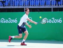 Olympische kampioen Andy Murray van Groot-Brittannië in de praktijk voor Rio 2016 Olympische Spelen op het Olympische Tenniscentr Royalty-vrije Stock Afbeeldingen