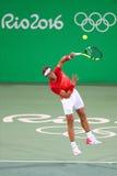 Olympische kampioen Rafael Nadal van Spanje in actie tijdens mensen` s dubbelen om 3 van Rio 2016 Olympische Spelen royalty-vrije stock afbeeldingen