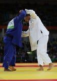 Olympische kampioens Tsjechische Republiek Judoka Lukas Krpalek in wit na overwinning tegen Jorge Fonseca van Portugal Royalty-vrije Stock Afbeeldingen