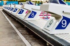 Olympische Pool-Startblöcke Stockbild