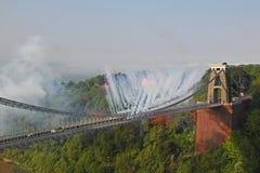 Olympische Relais-Feuerwerke Stockfotografie