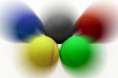 Olympische ringen van snelle tennisballen Stock Afbeelding