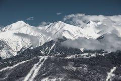 Olympische Skitoevlucht, Krasnaya Polyana, Sotchi, Rusland Stock Foto