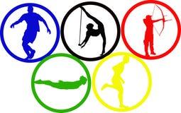 Olympische spelcirkels Stock Afbeeldingen