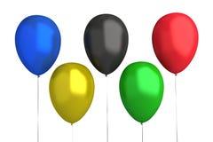 Olympische Spiele - Ballone: 5 Farben Stockfotografie