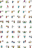 OLYMPISCHE SPORTEN gevulde overzichtspictogrammen Stock Afbeelding