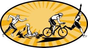 Olympische triathlon zwemt looppasfiets Stock Foto