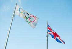 Olympische vlag Stock Afbeeldingen
