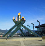 Olympische Vlam 2010 Vancouver Stock Foto