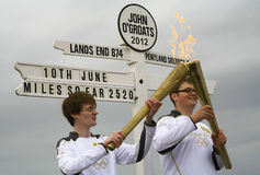 Olympische Vlam en toortsen 2012, John O'Groats Stock Afbeeldingen