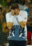 Olympischer Meister Andy Murray von Großbritannien feiert Sieg nach Tennismänner ` s Einzelfinale des Rios 2016 Olympische Spiele Stockfoto