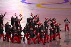 Olympischer Meister Anna Veith, welche die Flagge von Österreich die österreichische Olympiamannschaft beim PyeongChang führend 2 Stockbilder