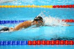 Olympischer Meister Gregorio Paltrinieri von Italien in der Aktion während des Männer ` s 1500-Meter-Freistilschluß des Rios 2016 Lizenzfreie Stockbilder
