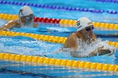 Olympischer Meister Katinka Hosszu von Ungarn konkurriert im Frauen ` s 100m Rückenschwimmen Schluss des Rios 2016 Olympische Spi Lizenzfreie Stockbilder