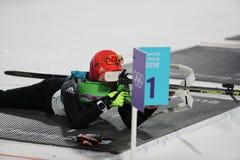 Olympischer Meister Laura Dahlmeier von Deutschland konkurriert in Biathlonfrauen ` s 10 Kilometer-Verfolgung an den 2018 Winter  Stockfotografie