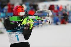 Olympischer Meister Laura Dahlmeier von Deutschland konkurriert in Biathlonfrauen ` s 10 Kilometer-Verfolgung an den 2018 Winter  Stockfoto