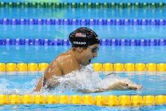Olympischer Meister Madeline Dirado von Vereinigten Staaten schwimmt die Frauen ` s 200m Einzelpersonen-Gemisch-Hitze 3 von Rio 2 Lizenzfreies Stockbild