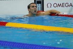 Olympischer Meister Michael Phelps von Vereinigten Staaten nach der Männer ` s 200m Schmetterling Hitze 3 von Rio 2016 Olympische Lizenzfreies Stockbild