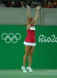 Olympischer Meister Monica Puig feiert Sieg am Einzelfinale der Frauen des Rios 2016 Olympische Spiele Stockfotografie