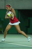 Olympischer Meister Monica Puig von Puerto Rico in der Aktion während des Einzelfinales der Tennisfrauen des Rios 2016 Olympische Stockbild