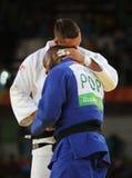 Olympischer Meister Tschechische Republik Judoka Lukas Krpalek im Weiß nach Sieg gegen Jorge Fonseca von Portugal Lizenzfreie Stockfotos