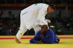 Olympischer Meister Tschechische Republik Judoka Lukas Krpalek im Weiß nach Sieg gegen Jorge Fonseca von Portugal Lizenzfreie Stockbilder