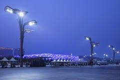 Olympischer Wasser-Würfel Pekings nachts, China Lizenzfreie Stockfotos