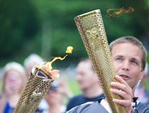Olympisches Fackel-Relais Bakewell Stockfotografie