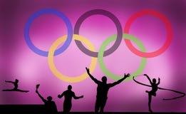 Olympisches Logo und Spiele stockfotografie