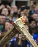 Olympisk facklaRelay Arkivbilder