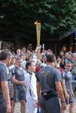 Olympisk facklaRelay Arkivfoto