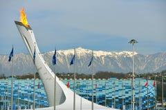 Olympisk flamma i Sochi Arkivbilder