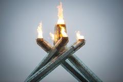 Olympisk flamma i Vancouver Arkivbilder