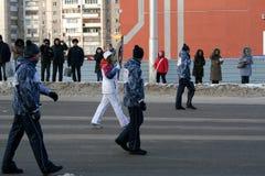 Olympisk flamma. Ufa stad, respublika Bashkortostan, Ryssland, 20 december, 2013 år. Arkivfoto