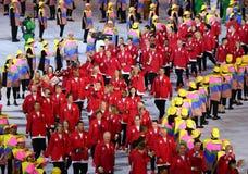Olympisk lagKanada marsch på Maracana stadion under den Rio de Janeiroöppningscermonin 2016 Royaltyfri Bild