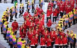 Olympisk lagKanada marsch på Maracana stadion under den Rio de Janeiroöppningscermonin 2016 Arkivbilder