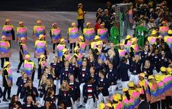 Olympisk lagUSA marsch på Maracana stadion under den Rio de Janeiroöppningscermonin 2016 Arkivbilder