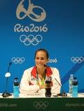 Olympisk mästare Monica Puig av Puerto Rico under presskonferens efter seger på finalen för singlar för tenniskvinna` s av Rio de Arkivbild