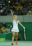 Olympisk silvermedaljör Angelique Kerber av Tyskland i handling under sista tenniskvinnors singlar Arkivbilder