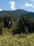 Olympiska Ski Jumping Trampoline i sommar Tid Arkivfoto