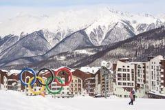 Olympiska symboler i hem Royaltyfri Bild