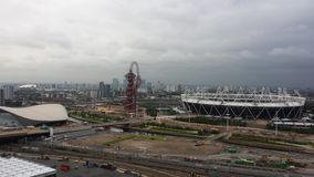 Olympiskt parkera Stratford, London Sikt från min tornkran Arkivbilder