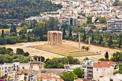 Olympiskt Zeustempel, Athens Arkivbild