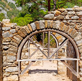 olympos   bush gate  in  myra  the      old column  stone  const Stock Photos