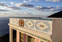 Olympos dieses Dorf, im Norden von Karpathos wird das schönste Dorf von Griechenland genannt Lizenzfreie Stockfotografie
