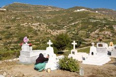 Cemetery cleaning before Easter in the village of Olympos Karpathos island Greece stock images