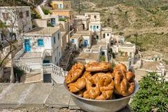 OLYMPOS, KARPATHOS, Griekse Pasen Stock Fotografie