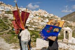 Olympos påsk tisdag och den traditionella processionen royaltyfria foton
