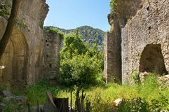 Olympos ruins. Ruins of ancient Lycian town Olympos in Turkey Royalty Free Stock Photography